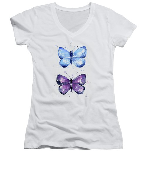 Butterflies Blue And Purple  Women's V-Neck (Athletic Fit)