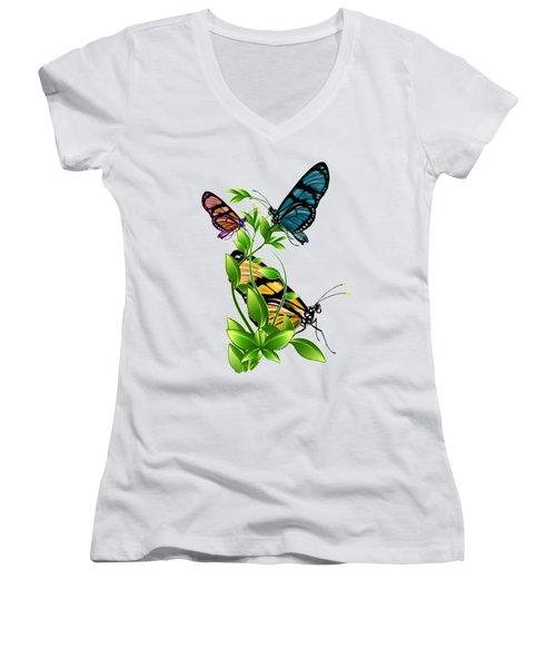 Butterflies On Leaves Women's V-Neck T-Shirt