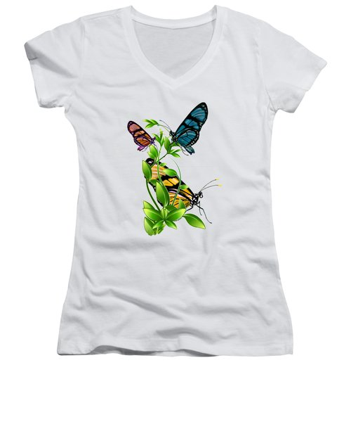Butterflies On Leaves Women's V-Neck