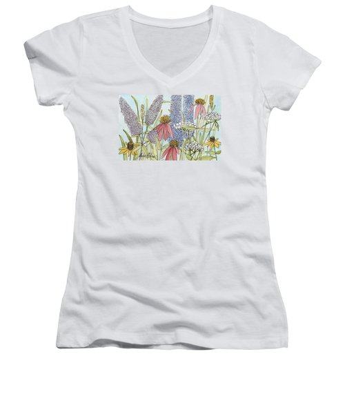Butterfly Bush In Garden Women's V-Neck