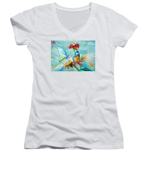 Women's V-Neck T-Shirt (Junior Cut) featuring the painting Butterfly Dance by Jasna Dragun