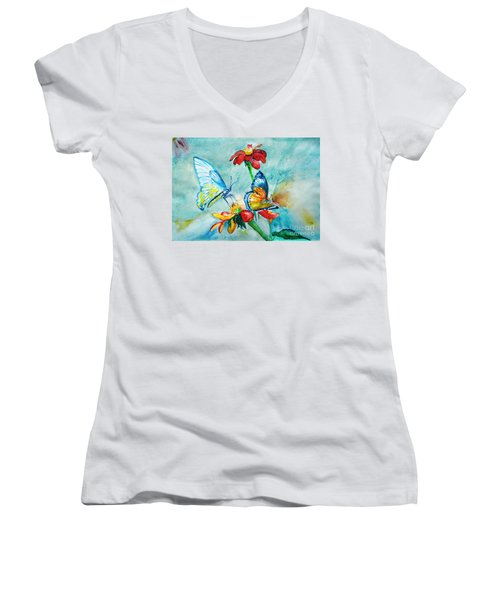Butterfly Dance Women's V-Neck (Athletic Fit)