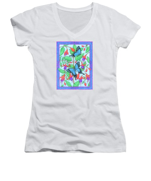 Butterfly Idyll-fuchsias Women's V-Neck (Athletic Fit)