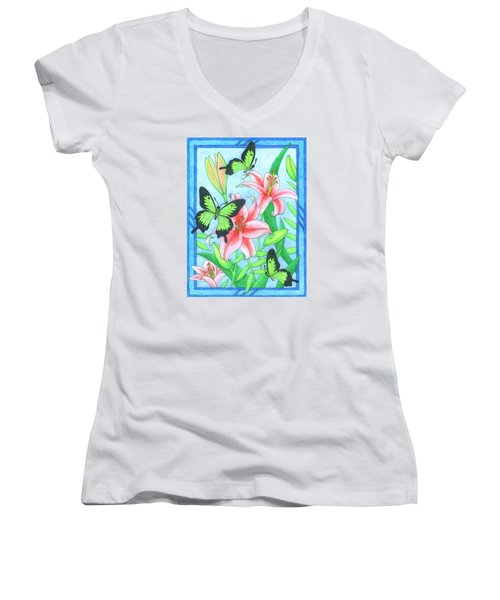Butterfly Idyll- Lilies Women's V-Neck (Athletic Fit)