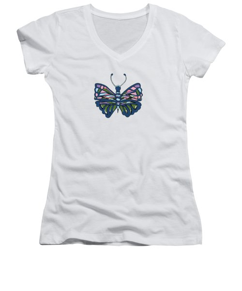Butterfly In Blue Women's V-Neck T-Shirt (Junior Cut) by Kathleen Sartoris
