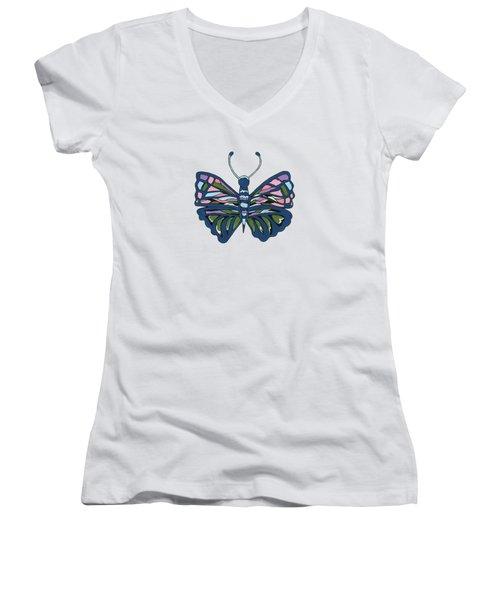 Butterfly In Blue Women's V-Neck T-Shirt