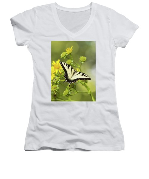 Butterfly On Yellow Women's V-Neck (Athletic Fit)