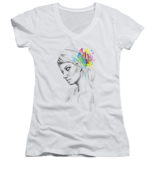 Butterfly Queen Women's V-Neck T-Shirt (Junior Cut) by Olga Shvartsur