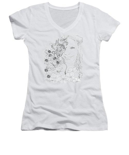 Butterfly Runner Women's V-Neck T-Shirt (Junior Cut) by D Renee Wilson