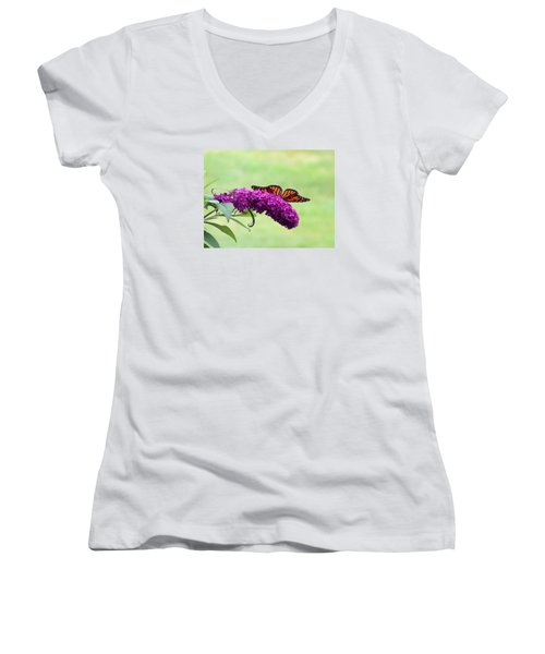 Women's V-Neck T-Shirt (Junior Cut) featuring the photograph Butterfly Wings by Teresa Schomig