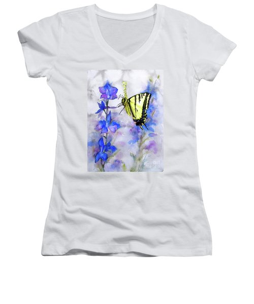 Butteryfly Delight Women's V-Neck T-Shirt (Junior Cut) by Bonnie Rinier