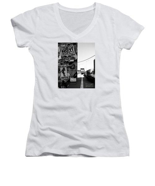 Buy Art Not Cocaine Women's V-Neck T-Shirt (Junior Cut) by James Aiken