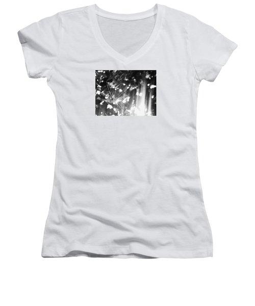 Women's V-Neck T-Shirt (Junior Cut) featuring the photograph Bw Gossamer Glow by Megan Dirsa-DuBois
