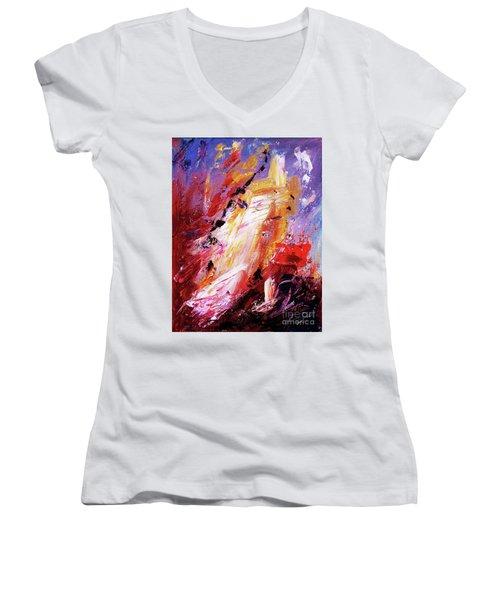 By Herself 3 Women's V-Neck T-Shirt (Junior Cut) by Jasna Dragun