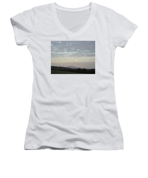 By The Rising Of The Moon Women's V-Neck T-Shirt (Junior Cut) by Suzanne Oesterling