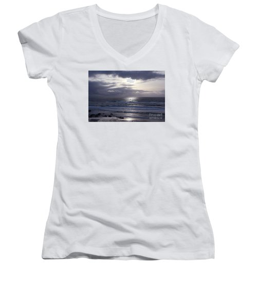 By The Silvery Light Women's V-Neck T-Shirt (Junior Cut) by Sheila Ping