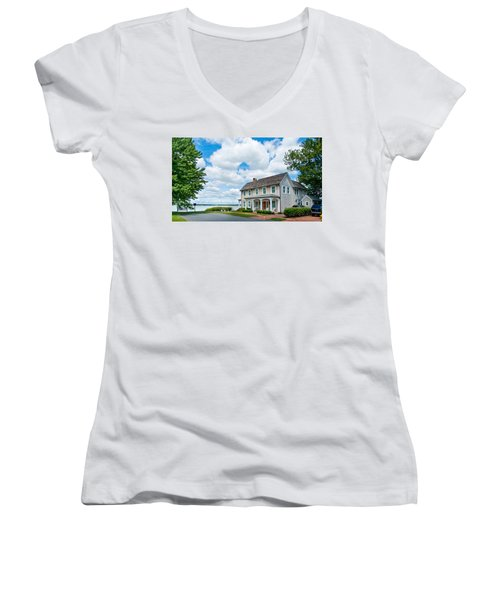 Women's V-Neck T-Shirt featuring the photograph By The Water In Oxford Md by Charles Kraus