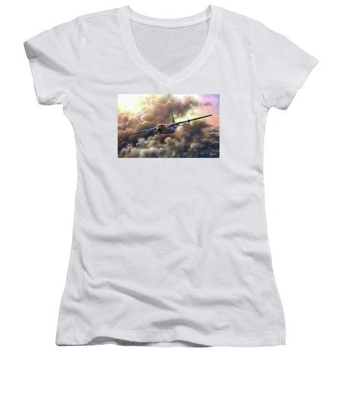 C-130 Hercules Women's V-Neck T-Shirt (Junior Cut) by Dave Luebbert