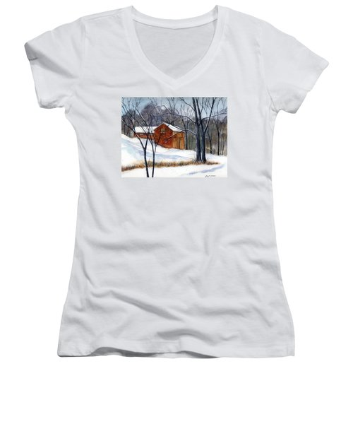 Cabin In The Woods Women's V-Neck (Athletic Fit)