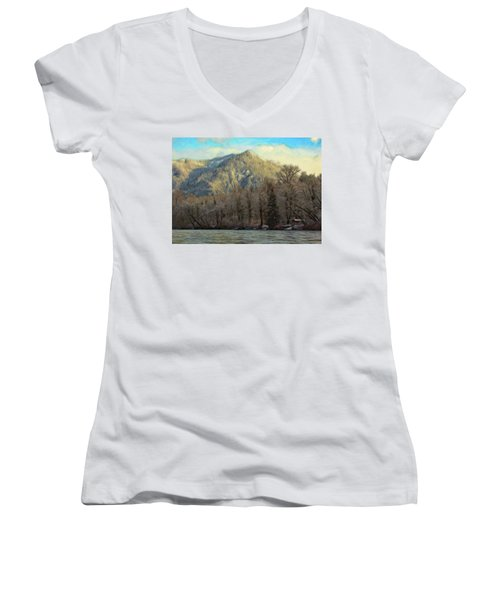 Cabin On The Skagit River Women's V-Neck