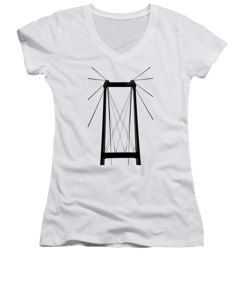 Cable Bridge Abstract Women's V-Neck T-Shirt (Junior Cut) by Debbie Oppermann