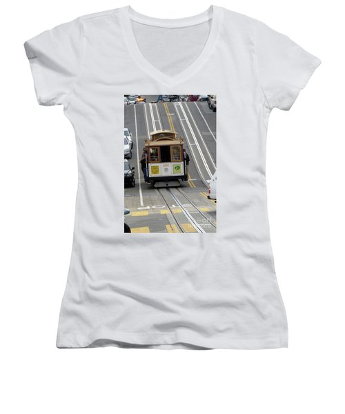 Women's V-Neck T-Shirt (Junior Cut) featuring the photograph Cable Car by Steven Spak
