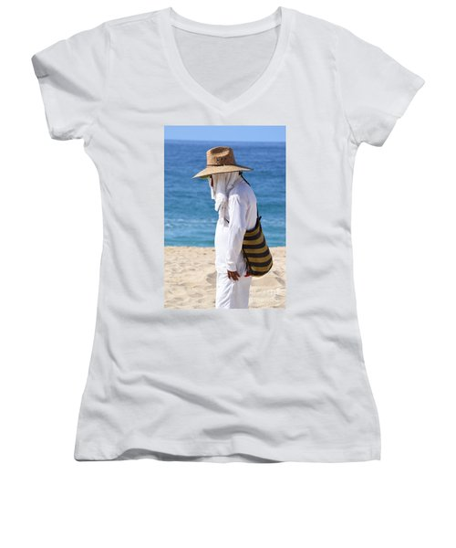 Cabo Beach Hawker. Women's V-Neck (Athletic Fit)