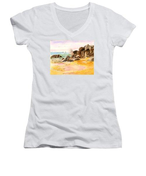 Cabo San Lucas Women's V-Neck T-Shirt (Junior Cut) by Larry Hamilton
