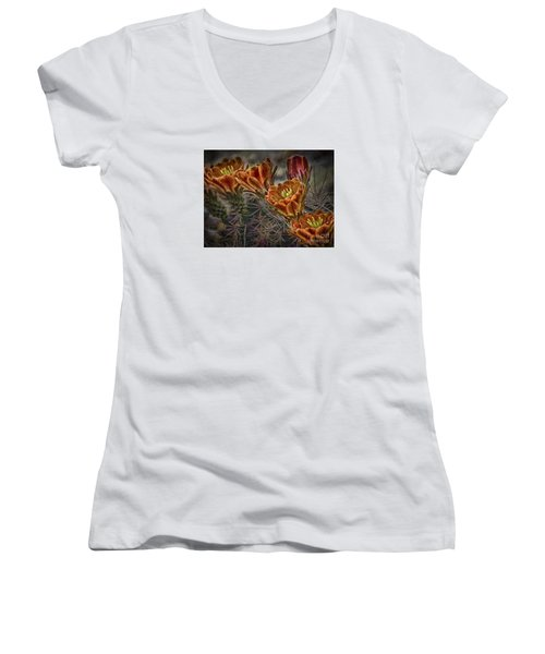 Women's V-Neck T-Shirt (Junior Cut) featuring the photograph Cactus Flowers  ... by Chuck Caramella