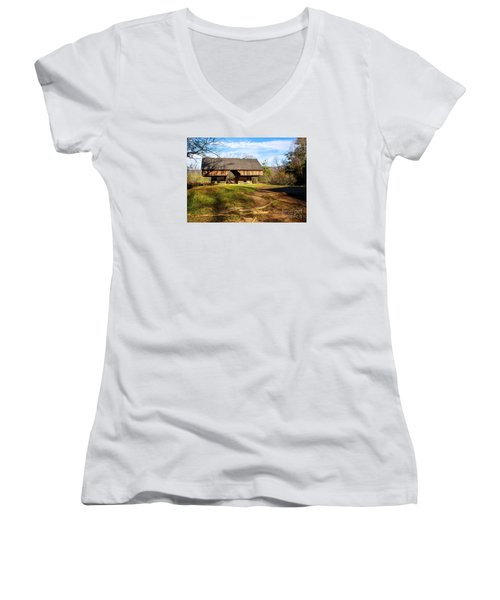 Cades Cover Cantilevered Barn Women's V-Neck T-Shirt (Junior Cut) by Marilyn Carlyle Greiner