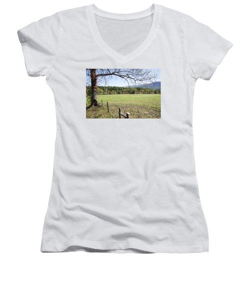 Cades Fence Women's V-Neck T-Shirt (Junior Cut) by Ricky Dean