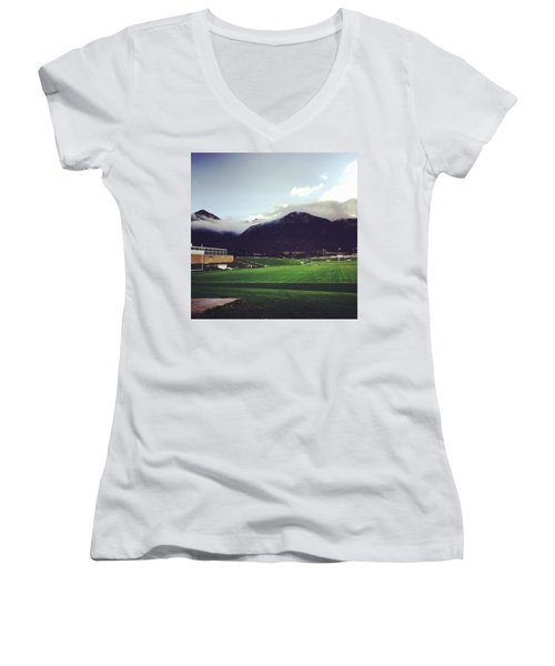 Women's V-Neck T-Shirt (Junior Cut) featuring the photograph Cadet Athletic Fields by Christin Brodie