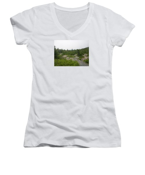 Cadillac Mountain Women's V-Neck T-Shirt (Junior Cut) by Helen Haw