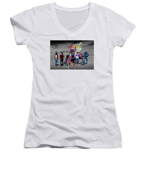 Women's V-Neck T-Shirt (Junior Cut) featuring the photograph Cadillac Ranch Spray Paint Fun Along Historic Route 66 By Amarillo Texas by Randall Nyhof