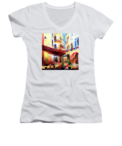 Cafe Scene Women's V-Neck T-Shirt