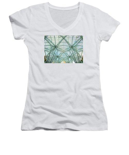 Calatrava In Toronto 10 Women's V-Neck T-Shirt (Junior Cut) by Randall Weidner