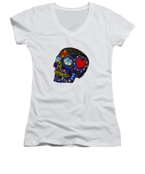Calavera Del Azucar Women's V-Neck (Athletic Fit)