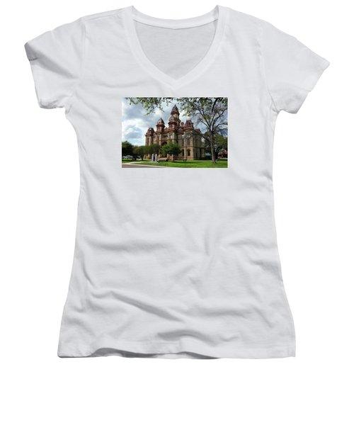 Caldwell County Courthouse Women's V-Neck T-Shirt (Junior Cut) by Ricardo J Ruiz de Porras
