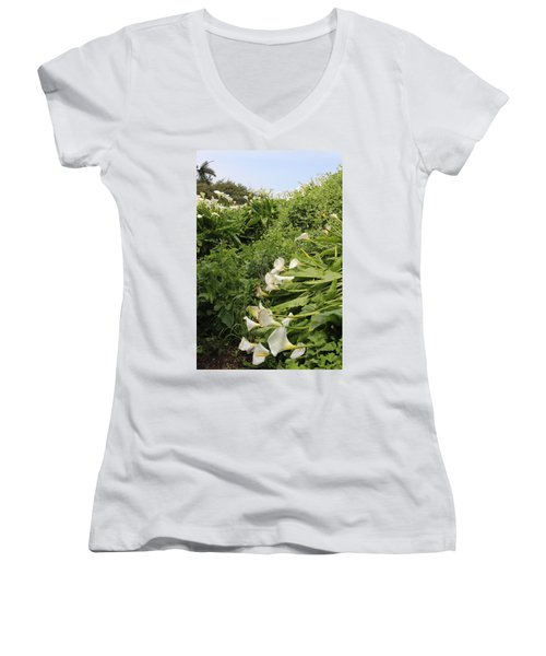 Women's V-Neck T-Shirt (Junior Cut) featuring the photograph Cali Can You Hear Me by Marie Neder