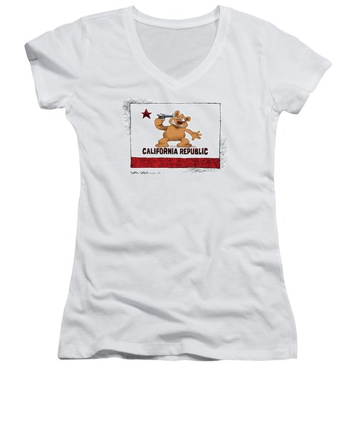 California Budget Suicide Women's V-Neck