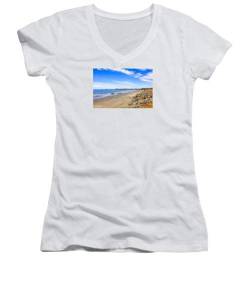 California Coastline Women's V-Neck T-Shirt (Junior Cut) by Chris Smith