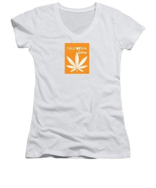 Women's V-Neck featuring the digital art California Grown Cannabis Orange- Art By Linda Woods by Linda Woods