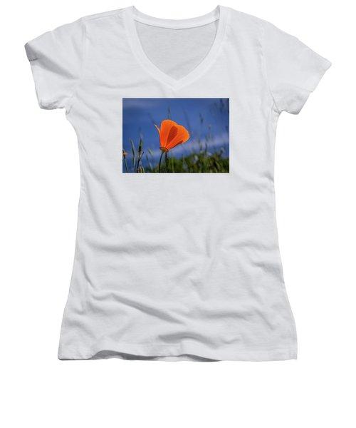 California Poppy Women's V-Neck T-Shirt (Junior Cut) by Marc Crumpler