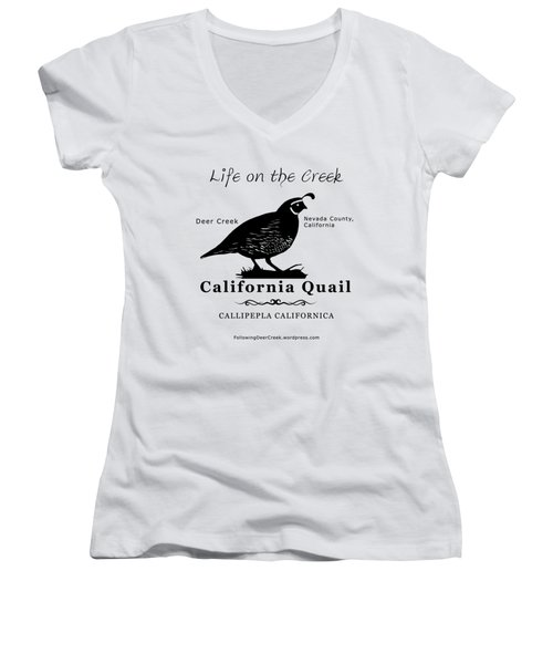 California Quail - White Women's V-Neck (Athletic Fit)