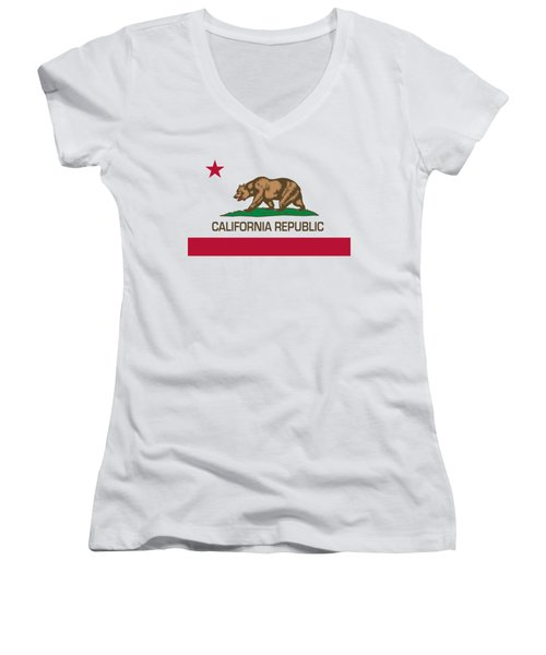 California Republic State Flag Authentic Version Women's V-Neck T-Shirt (Junior Cut)