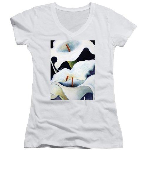 Women's V-Neck T-Shirt (Junior Cut) featuring the painting Calla Lilies.. by Jolanta Anna Karolska
