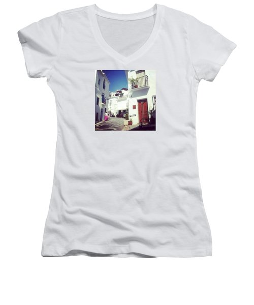 Calles De Frigiliana, Pueblo Blanco De Malaga - Spain Women's V-Neck (Athletic Fit)