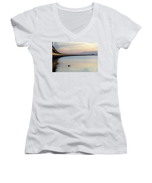Calm Evening By The Bridge Women's V-Neck T-Shirt (Junior Cut) by Kennerth and Birgitta Kullman