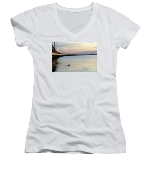 Calm Evening By The Bridge Women's V-Neck (Athletic Fit)