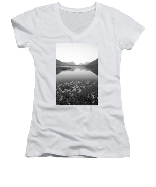 Women's V-Neck T-Shirt (Junior Cut) featuring the photograph Calm Morning  by Dustin LeFevre